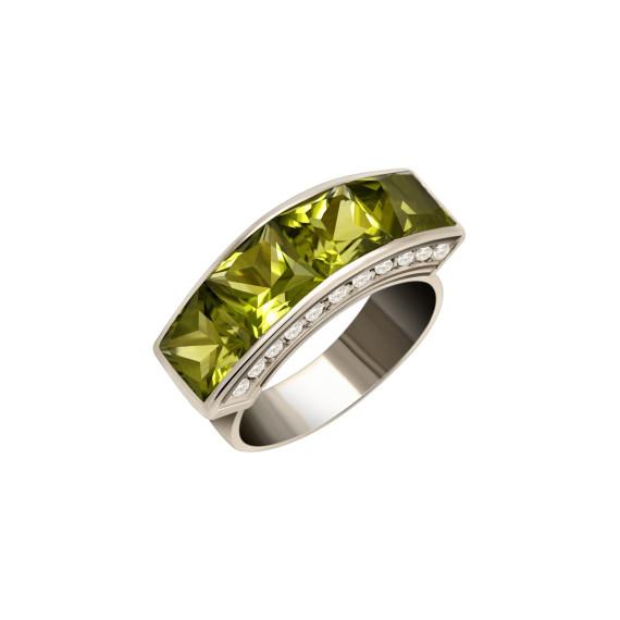 Sarah Kosta Joyas - Anillo en oro blanco 18 kt con peridotos olivinos y brillantes ANORPE1013_a