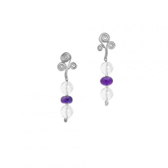 Sarah Kosta caravanas de plata 950 con cuarzo cristal y amatistas - CAPLAM1044_a
