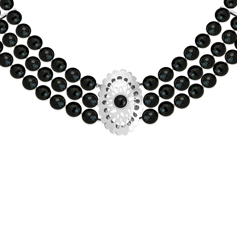 507f402fef80 Collar de ágatas negras con pieza calada en plata 950 - Sarah Kosta