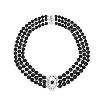 DAISY COPLAG1208 Collar de tres hilos de ágatas negras facetadas con importabte pieza central calada
