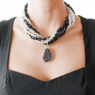 Sarah Kosta black agate and crystal quartz necklace with druzy set in 950 silver –  COPLAB1069_d