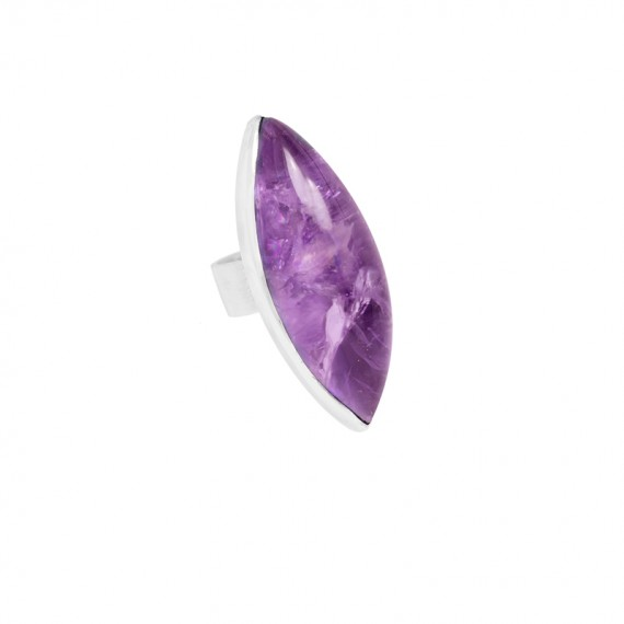 Sarah Kosta anillo en plata 950 con amatista navette - ANPLAM1133_a