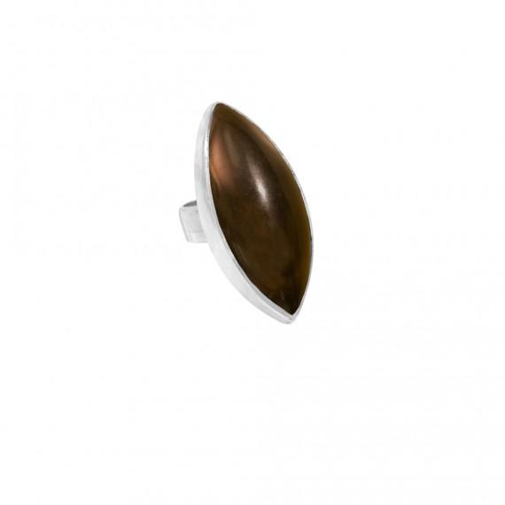 Sarah Kosta anillo en plata 950 con cuarzo fumé oscuro - ANPLCF1105_a