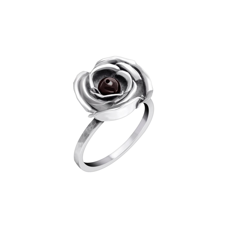 ddc915425733 Flower ring in 950 silver with garnet - Sarah Kosta