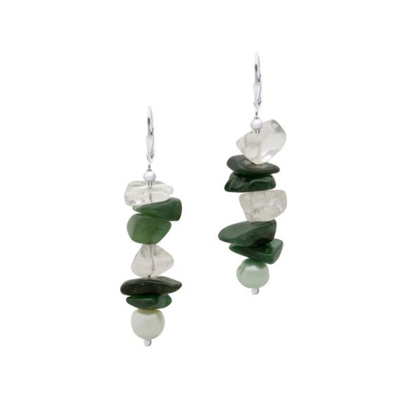 Sarah Kosta Joyas - Caravanas en plata 950 con cuarzo verde, cuarzo cristal y perlas CAPLCV1072_a