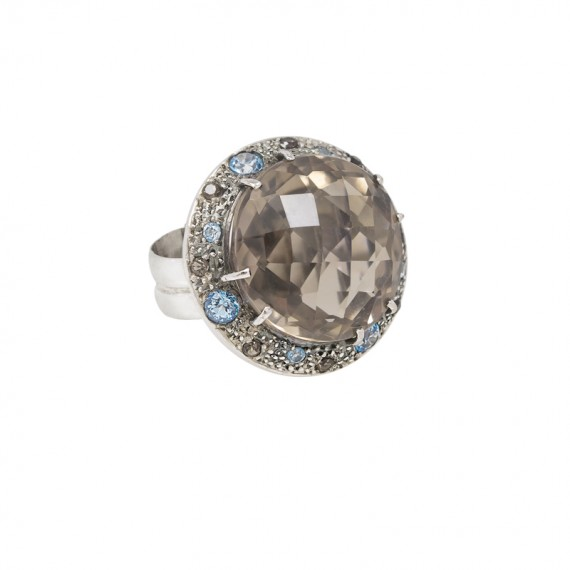 Sarah Kosta 18K white gold ring with smoky quartz and light blue topazes - ANORCF1022_a