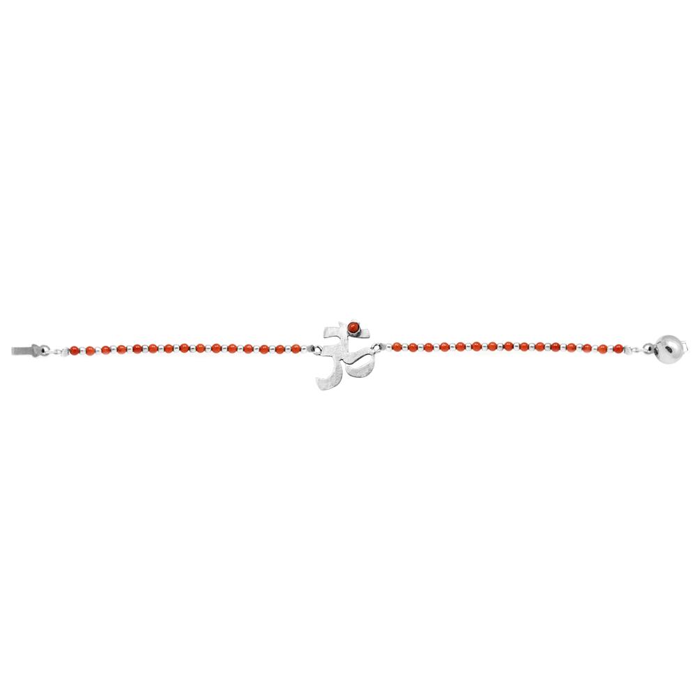 Red Jasper Bracelet With Om Symbol In 950 Silver Sarah Kosta