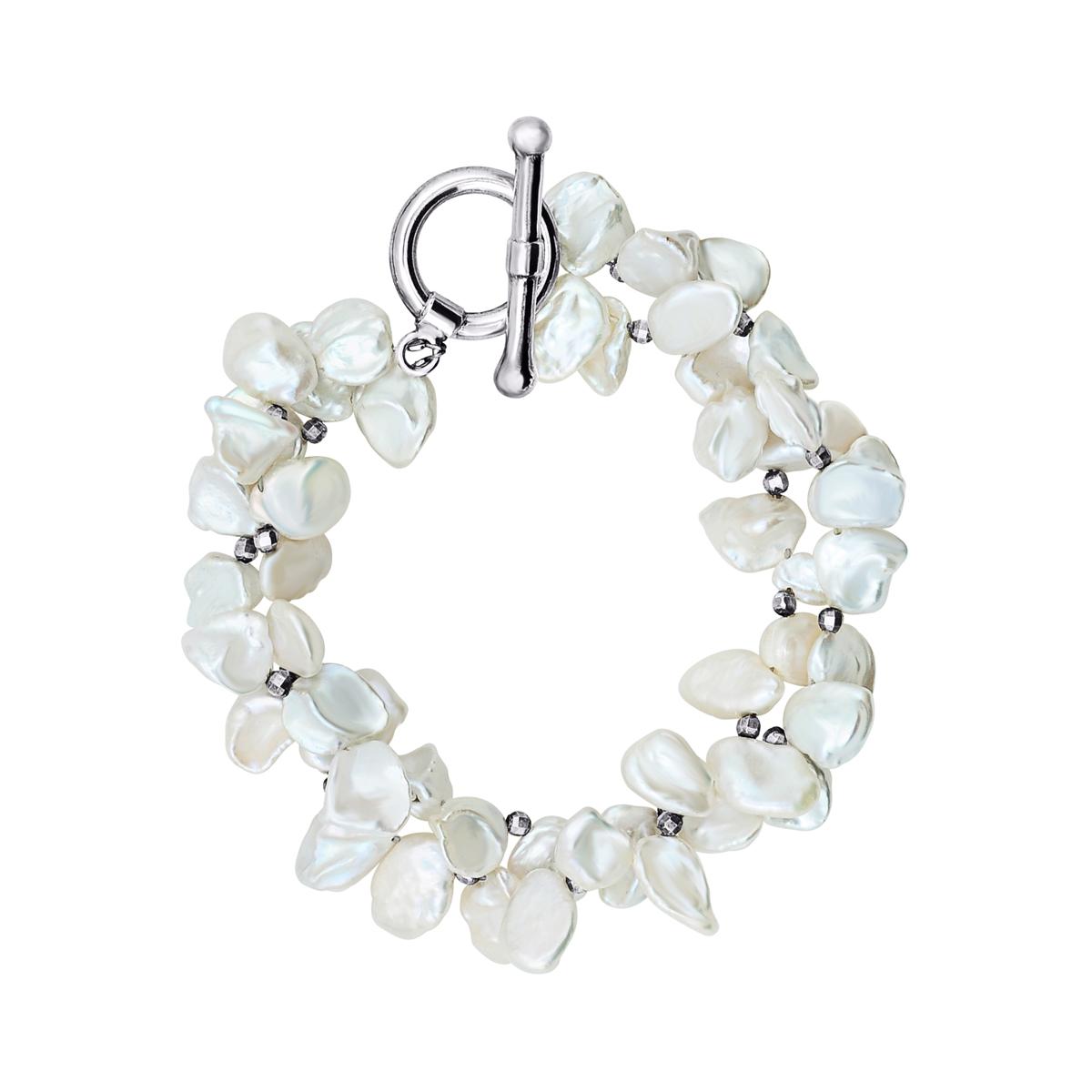 b737c0ea51ff Pulsera en plata 950 con perlas barrocas irregulares