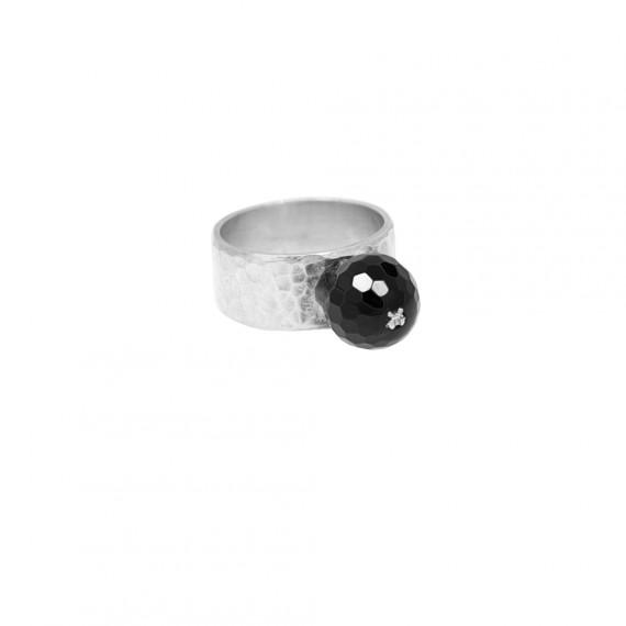 Sarah Kosta anillo en plata 950 con ágata negra - ANPLAG1119