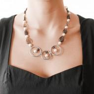 Sarah Kosta 950 silver necklace with baroque pearls and smoky quartz – COPLCF1138_c