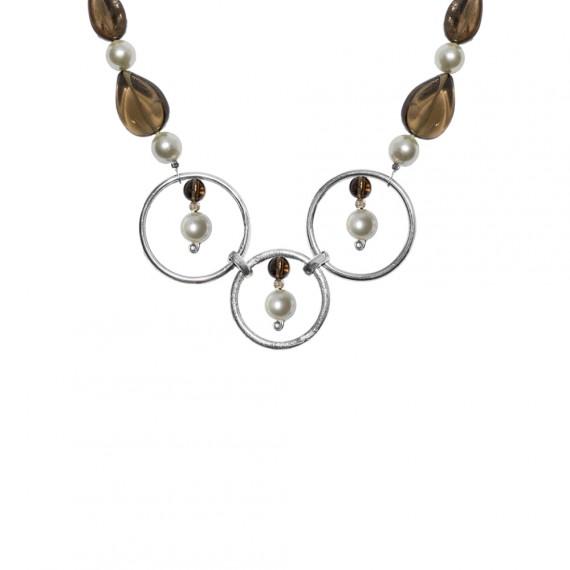 Sarah Kosta collar en plata 950 con perlas y cuarzos fumé - COPLCF1138