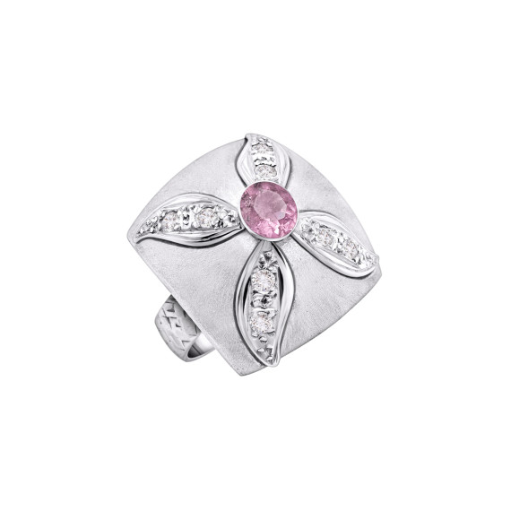 Sarah Kosta Joyas - Anillo en plata 950 con cristales y turmalina rosa ANPLTU1285_c