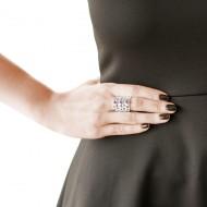 950 silver fretwork garnet ring