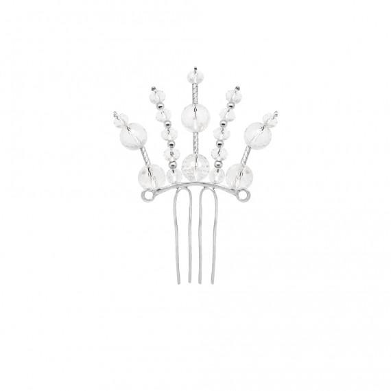 Sarah Kosta 950 silver wedding comb with crysta quartz - TOPLCC1009_a
