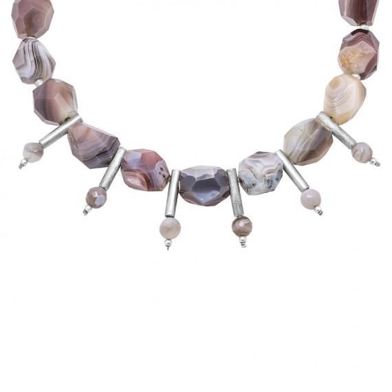 Sarah Kosta collar de ágatas irregulares con detalles en plata 950 - COPLAG1281_a