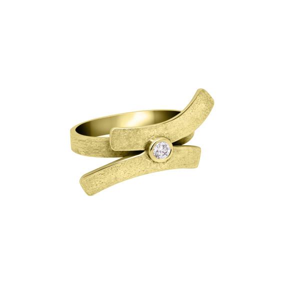 Sarah Kosta Joyas - Anillo en plata 950 con baño de oro amarillo 18 kt y cristal ANOACR1365_c