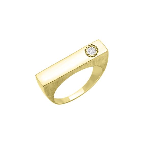 Sarah Kosta Joyas - Anillo en plata 950 con baño de oro amarillo y cristal ANOACR1371_a