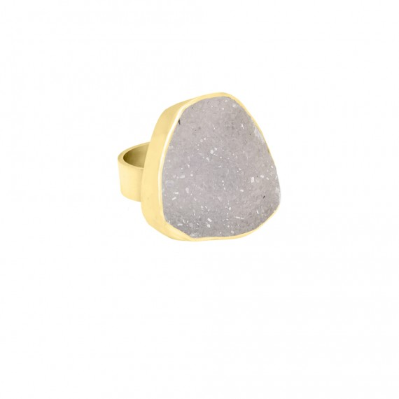 Sarah Kosta anillo en plata 950 con baño de oro amarillo 18kt y drussy alto brillo - ANOAAB1422_b