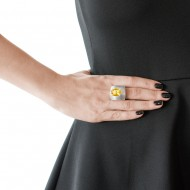 Sarah Kosta Jewels – 950 silver ring with faceted citrine and fretwork band ANPLCI1410_d