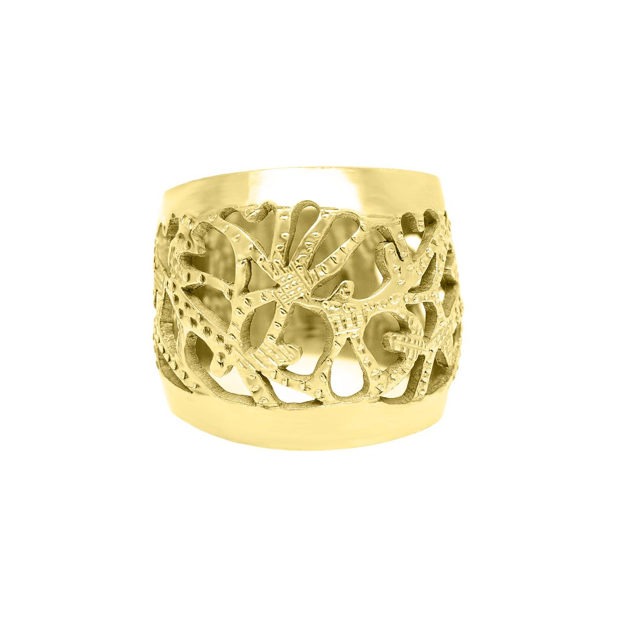 Anillo Calado En Plata 950 Con Ba O De Oro Amarillo 18 Kt