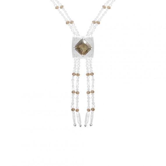 Sarah Kosta collar con perlas y cuarzo fumé fancy cut - COPLCF1333