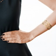 18K yellow gold plated 950 silver fretwork bangle – PUPLOA1181_c
