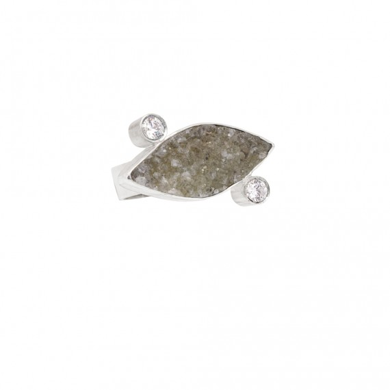 Sarah Kosta 950 silver ring with druzy agate and crystals - ANPLAB1439_a