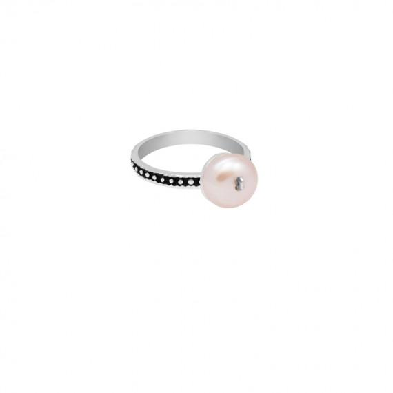Sarah Kosta anillo en plata 950 con perla rosada y cinta texturada y patinada - ANPLPE1418_a
