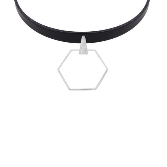 Sarah Kosta gargantilla de cuero con hexágono en plata 950  - COPLPL1365_a