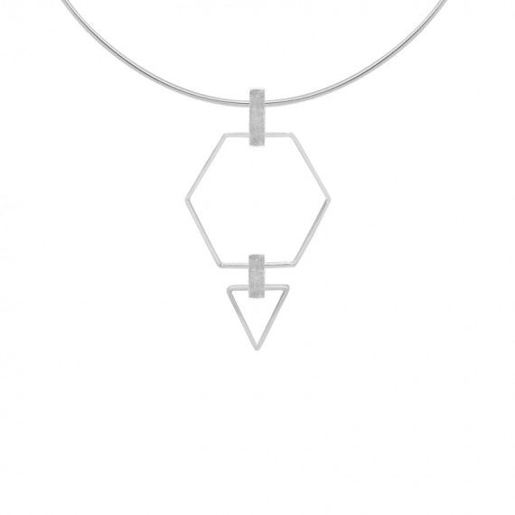 Sarah Kosta gargantilla en plata 950 con hexágono y triángulo - COPLPL1361_a