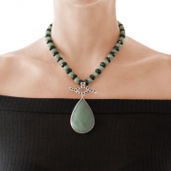 Sarah Kosta Jewels – Green quartz and black agates necklace with drop shaped green quartz COPLCV1345_c