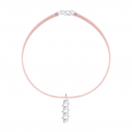 Sarah Kosta Jewels – Rose leather choker with 950 silver almonds COPLPL1377_b