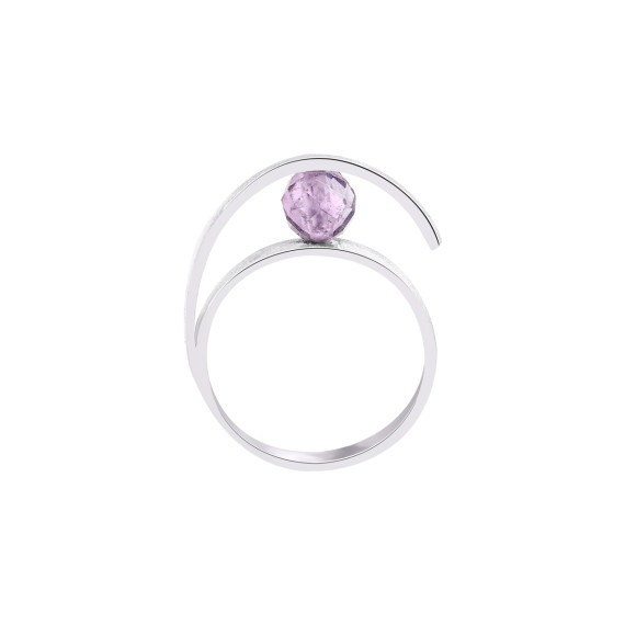 Sarah Kosta Jewels - 950 silver ring with satin finish and faceted amethyst ANPLAM1467_c