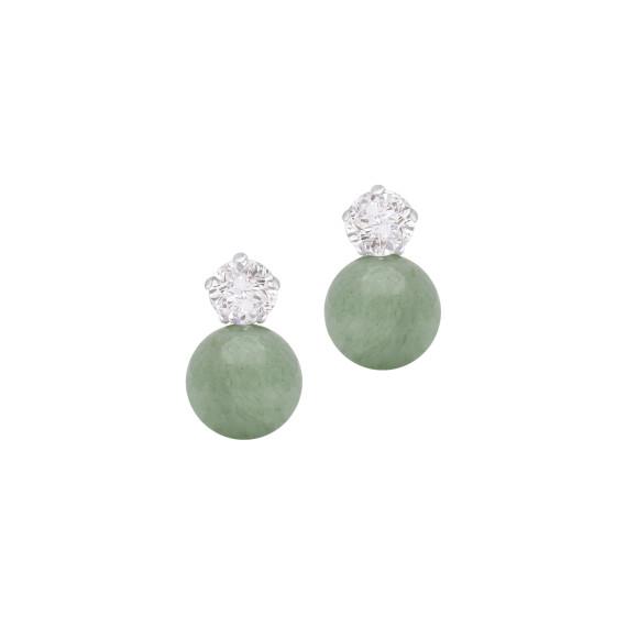 Sarah Kosta Joyas - Caravanas en plata 950 con cristales y cuarzo verde CAPLCV1409_a