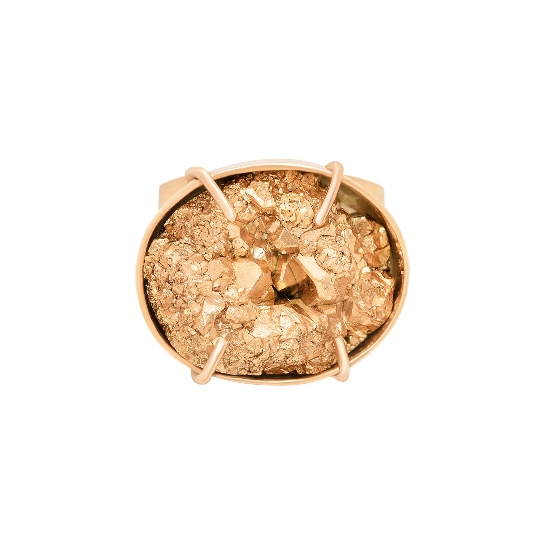 Anillo en plata 950 con ba o de oro rosa 18 kt y pirita for Plata con bano de oro