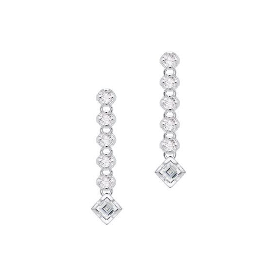 Sarah Kosta Joyas - Caravanas en oro blanco 18 kt con brillantes y diamantes cuadrados CAAUBR1422_a