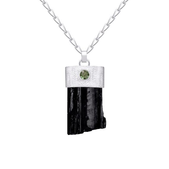 Sarah Kosta Joyas - Colgante en plata 950 con turmalina negra en bruto y turmalina verde COPLTU1408(2)_a